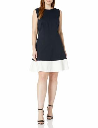 Sharagano Women's Plus Size Sleeveless Colorblock Ponte Dress