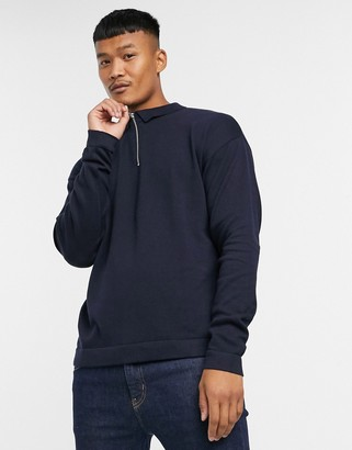 Jack and Jones Originals zip neck knitted long sleeve polo in navy
