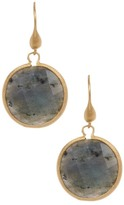 Rivka Friedman 18K Gold Clad Round Faceted Labradorite Dangle Earrings