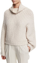 Brunello Cucinelli Knit Cashmere-Blend Dolman Sweater, Vanilla