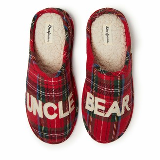 Dearfoams Mens Uncle Bear Clog Slipper Charming Cozy and Comfortable in Classic Patterns and Colors - Cushioned Insole with Memory Foam Indoor/Outdoor Rubber Outsole