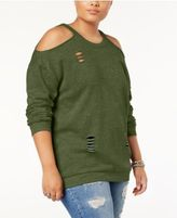 Planet Gold Trendy Plus Size Ripped Cold-Shoulder Sweatshirt