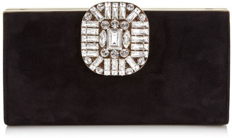 Jimmy Choo LEONIS Black Suede Clutch Bag with Snap Closure