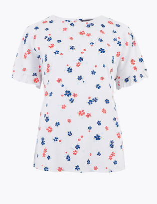 Marks and Spencer Disty Floral Short Sleeve Blouse