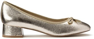 La Redoute Collections Metallic Ballet Pumps with Bow Trim and Block Heel
