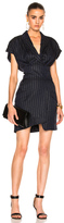 Alexandre Vauthier Pinstripe Dress in Blue,Metallics,Stripes.