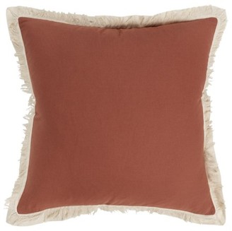 """Rizzy Home 20""""x20"""" rust solid with fringe polyester filled pillow"""