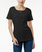Karen Scott Buckle-Trim T-Shirt, Created for Macy's
