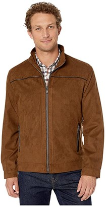 Johnston & Murphy Perforated Faux Suede Jacket (Brown) Men's Clothing