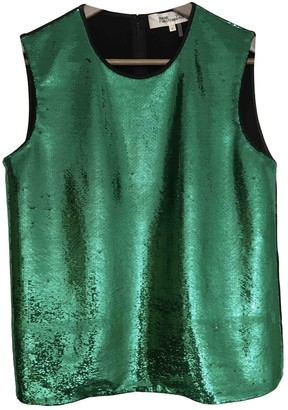 Diane von Furstenberg Green Glitter Top for Women