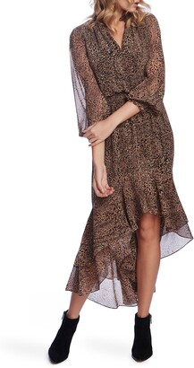 1 STATE Muses Leopard Print High/Low Midi Dress
