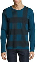 Burberry Ashby Check Graphic Long-Sleeve T-Shirt, Mineral Blue