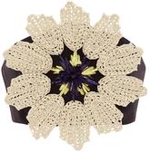 DELPOZO Triple Silk Organza Crop Top with Floral Raffia Appliqué