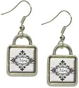 Made On Terra Mrs on Floral Pattern Bride Woman Hers Wife Dangling Drop Square Charm Earrings