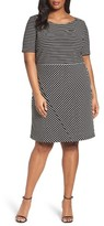 Tahari Plus Size Women's Stripe Ottoman Knit Sheath Dress