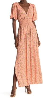 Socialite V-Neck Short Sleeve Floral Print Dress
