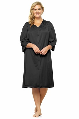 Exquisite Form Women's Button Front Knee Length Robe 10107
