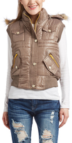 Camel Faux Fur Trim Hooded Vest