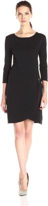 Joan Vass Women's 3/4 Sleeve Scoop Neck Dress