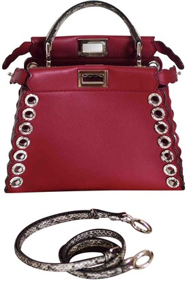 Fendi Peekaboo Red Water snake Handbags