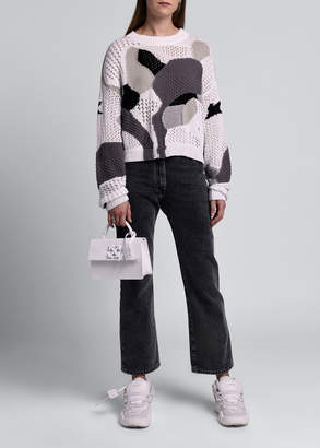 Off-White Off White Long-Sleeve Crewneck Puzzle Knit Sweater