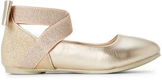 Kenneth Cole Reaction Toddler/Kids Girls) Gold Glitz Metallic Ankle Strap Flats