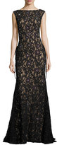 Jovani Sleeveless Embroidered Sequin Mermaid Gown, Black