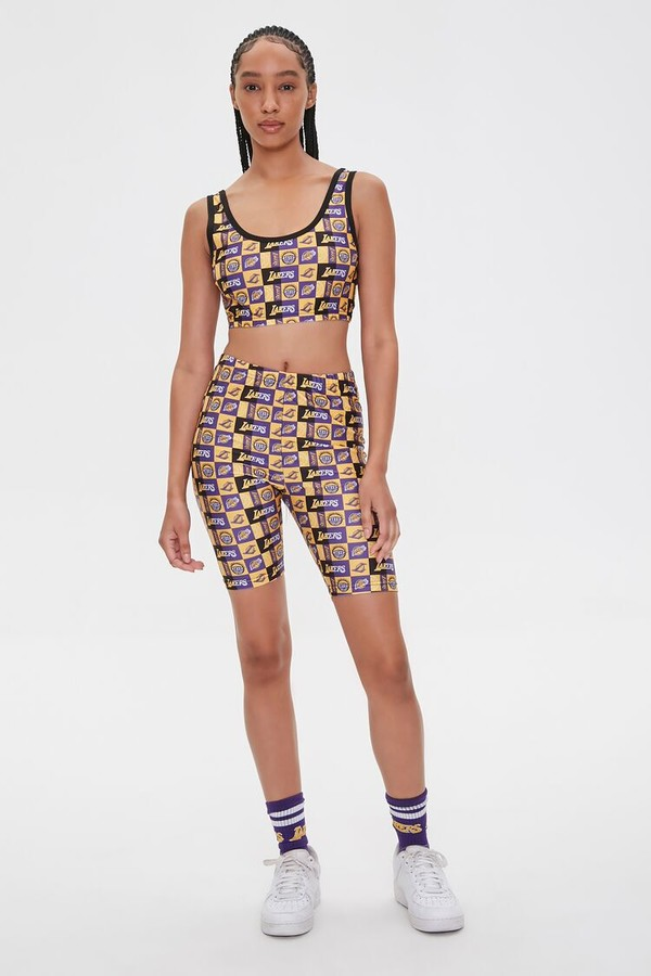 Thumbnail for your product : Forever 21 Lakers Print Cropped Tank Top