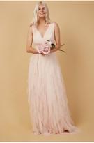 Thumbnail for your product : Little Mistress Bridesmaid Leonora Nude Ruffle Mesh Maxi Dress