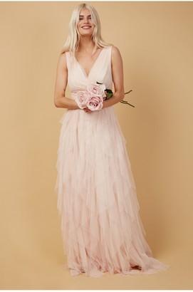 Little Mistress Bridesmaid Leonora Nude Ruffle Mesh Maxi Dress