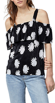 Warehouse Flower Stamp Overlay Top, Black