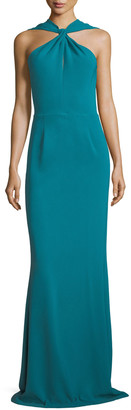 Sachin + Babi Kajol Sleeveless Halter-Neck Column Evening Gown