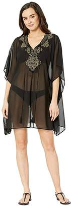 Miraclesuit Petal to the Metal Embellished Caftan Cover-Up (Black) Women's Swimwear