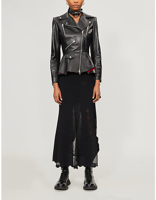 Alexander McQueen Ruffled leather jacket
