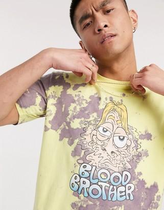 Blood Brother printed bleached t-shirt in lemon/violet