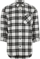 River Island Mens Cream herringbone check casual shirt