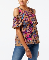 INC International Concepts Petite Cotton Printed Cold-Shoulder Ruffled Top, Created for Macy's