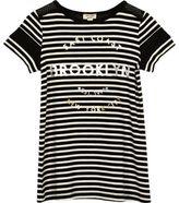 River Island Mini girls black Brooklyn stripe mesh dress