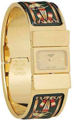 Hermes Gold & Green Enamel Loquet Watch