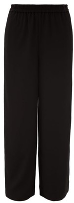 Co Elastic-waist Crepe Wide-leg Trousers - Black