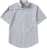 Roundtree & Yorke Gold Label Short-Sleeve Multi Plaid Button-Down Collar Non-Iron Sportshirt