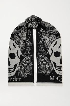 Alexander McQueen Fringed Wool-jacquard Scarf - Black