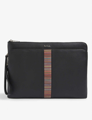 Paul Smith Stripe-embroidered leather cross-body bag