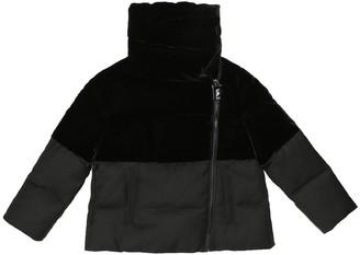 Emporio Armani Kids Velvet and twill puffer jacket