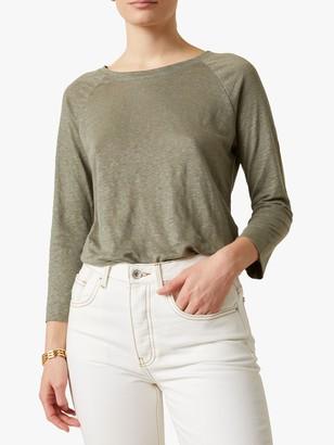 Jigsaw Linen Deep Hem Raglan T-Shirt