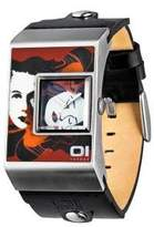 The One 01 Analogue Black Strap Watch with Multi Coloured Face