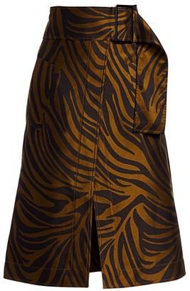 3.1 Phillip Lim Zebra-Print Belted Topstitch Skirt