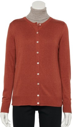Croft & Barrow Petite Button-Front Knitted Cardigan