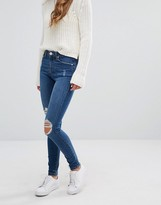 Miss Selfridge Mid Blue Busted Knee Jeans