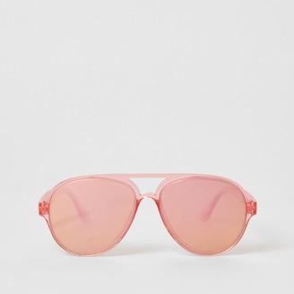 River Island Girls bright Pink mirrored aviator sunglasses